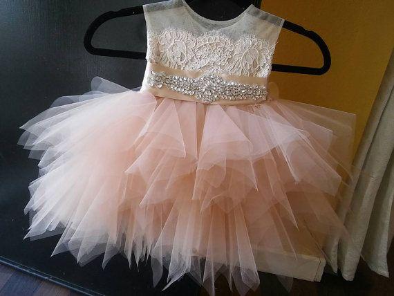 6cc3acc77c8 Champagne blush  Tiffany  flower girl dress  tutu
