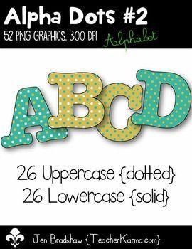 Free 1 Day Letter Clip Art Alpha Dots 2 Graphics Alphabet Clip Art Lettering Kindergarten Font