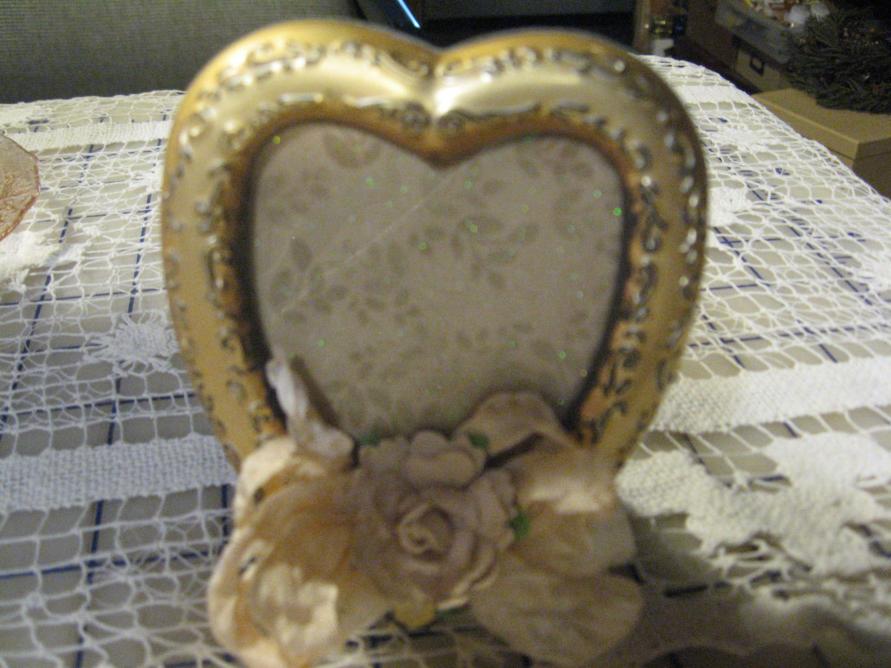 Small Heart Shaped Decorated Picture Frame With Hand Dyed Ribbon