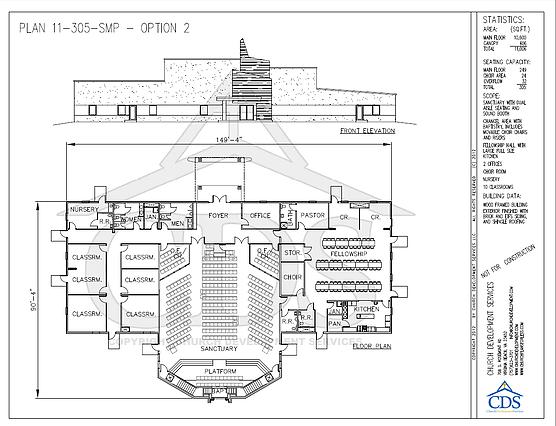 Church Floor Plans With 300 449 Seats Church Building Plans Floor Plans Church Design