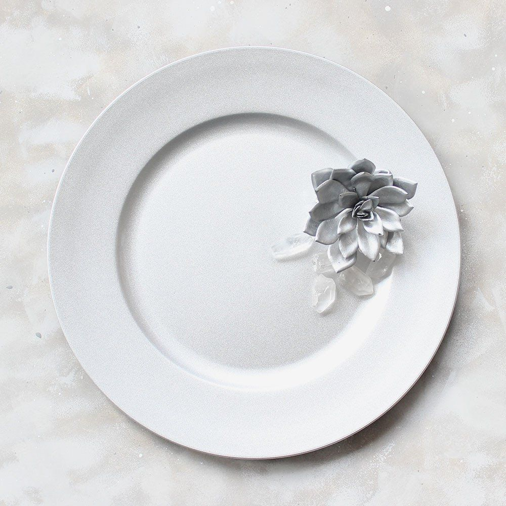 Round Glittered Silver Plastic Charger Dinner Plateu003cbru003e12.75  Diameter & Round Glittered Silver Plastic Charger Plate12.75 | Reception and ...