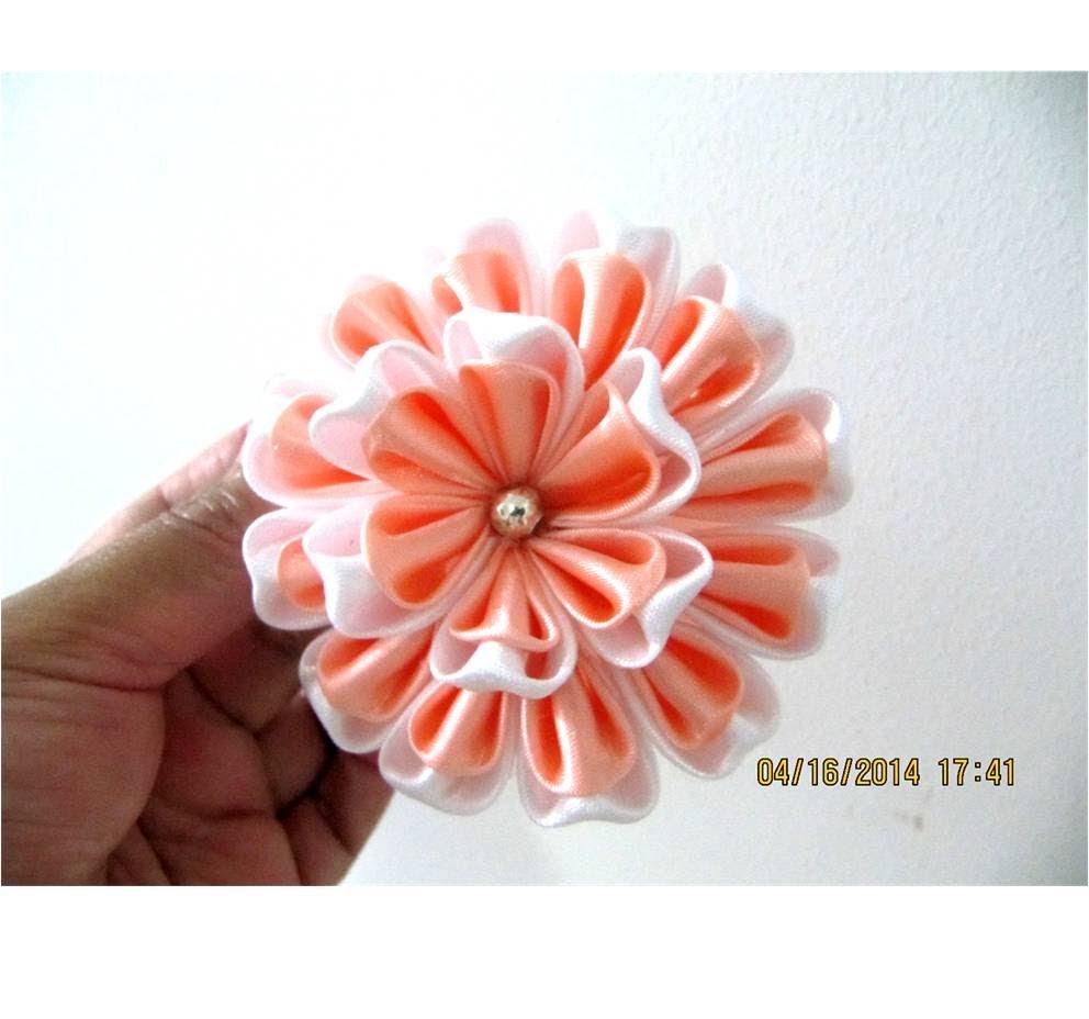 Flores Kanzashi Petals Hearts En Cintas Para El Cabello Flores  ~ Lazos De Cinta De Raso Paso A Paso
