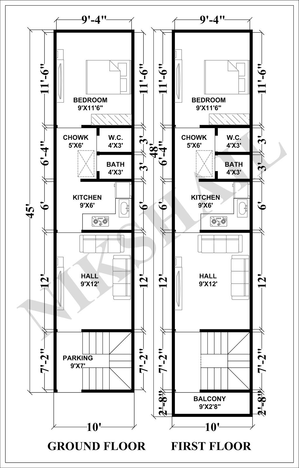 10x45 House Plan With 3d Elevation By Nikshail Narrow House Plans Model House Plan 2bhk House Plan