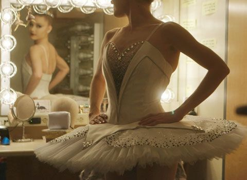"""Sara Mearns models one of NYCB's new """"Symphony in C"""" tutus. Photo by Nick Bentgen."""
