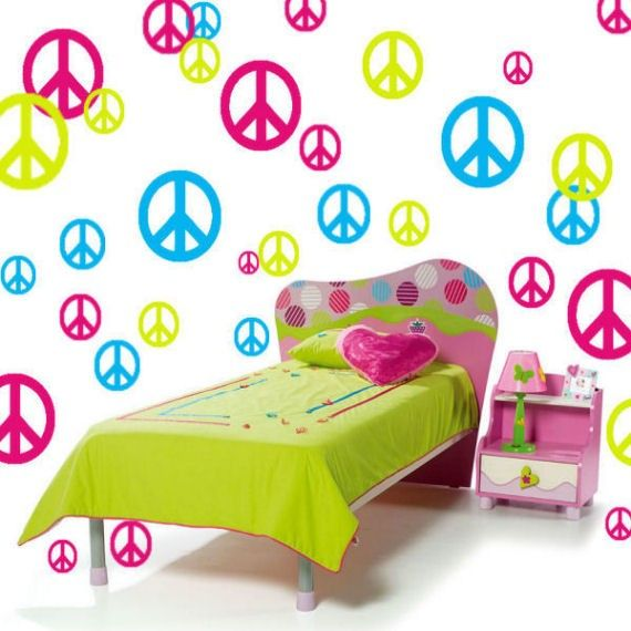 Peace Sign Bedroom Accessories: Peace Sign Vinyl Wall Decals Girls Room Decor 51 Piece Set