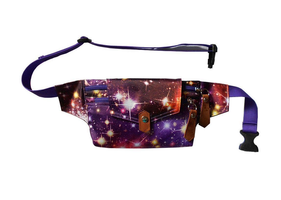 Bum bag purple galaxy/boho fanny pack/Belt bag/waist bag/crossbody bag/festival bum bags/festival fanny pack/travel bags/BUY 3 FREE 1 by goldbag on Etsy