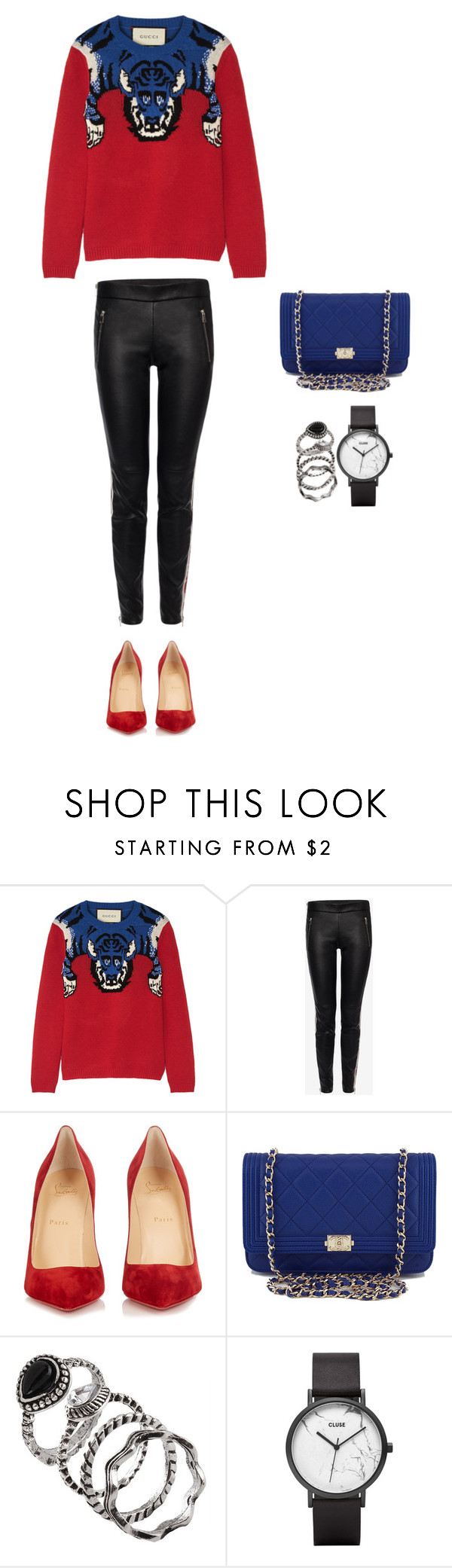 """Style #150"" by maksimchuk-vika ❤ liked on Polyvore featuring Gucci, Alexander McQueen, Christian Louboutin, Chanel and CLUSE"