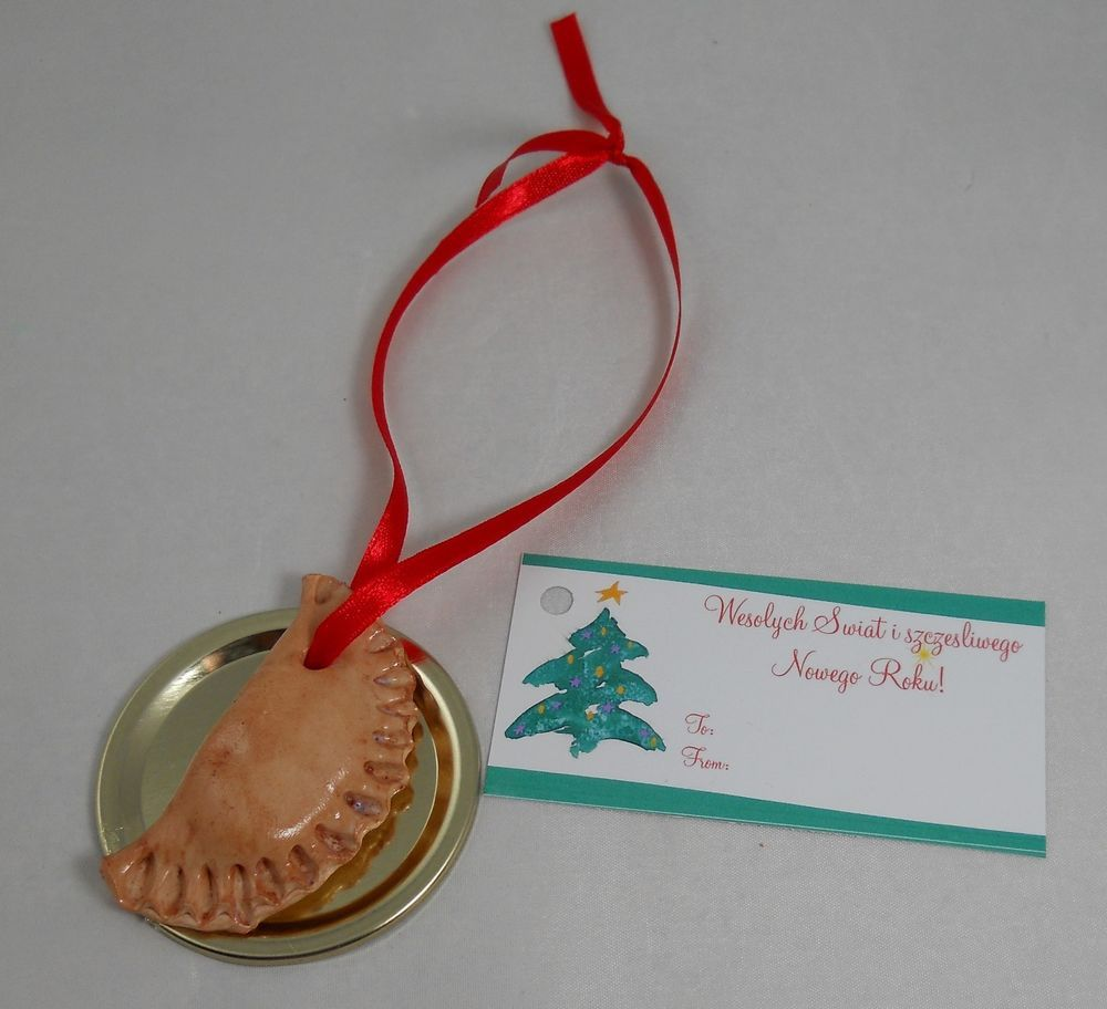 Polish Pierogi Christmas Holiday Ornament on a Plate Chef ...