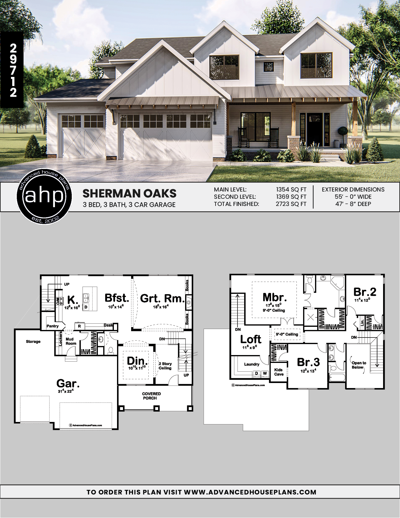 2 Story Modern Farmhouse House Plan Sherman Oaks House Plans Farmhouse House Plans 2 Story Farmhouse House