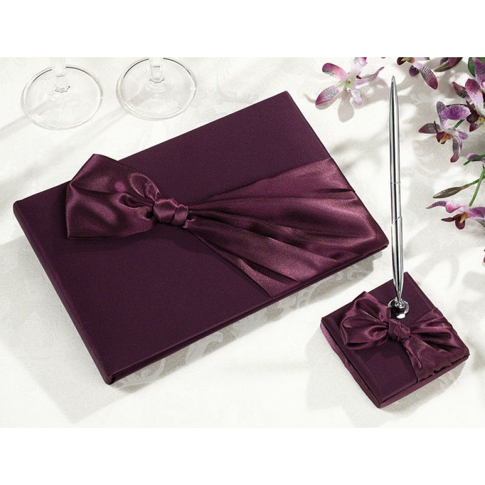 Wedding decor maroon  Plum Satin Guest Book with Pen Set This set is covered in plum satin