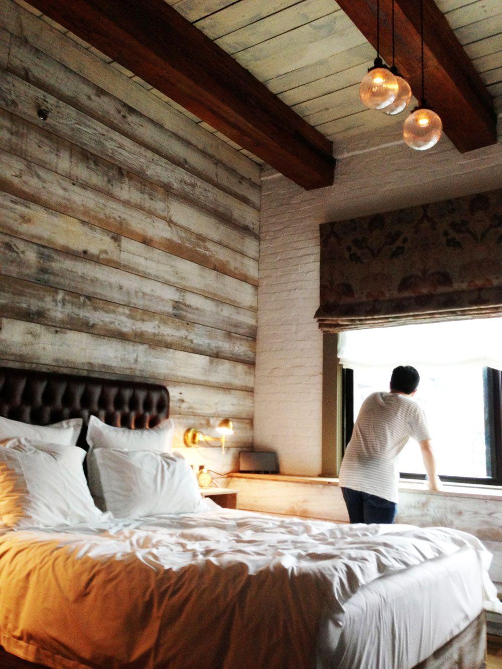 Soho House NYC Wooden Paneling Beams Exposed Brick Hanging - Contemporary soho loft with exposed brick and wood beams