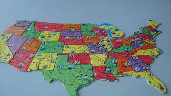 Vintage Map Jigsaw Puzzle United States By Joesbooksandthings - Us map jigsaw puzzle