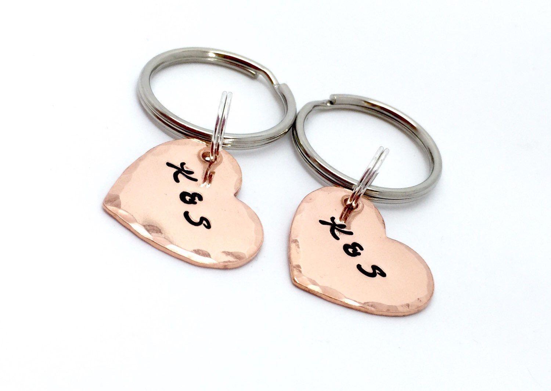 7th anniversary gift personalised heart keyring set hand