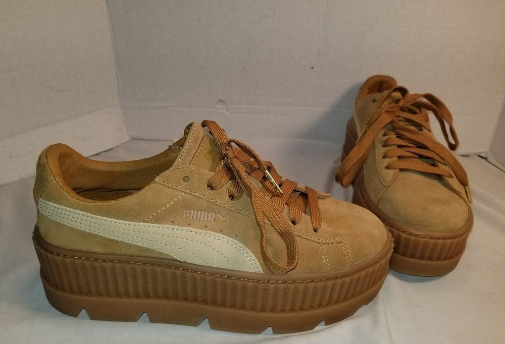 NEW PUMA FENTY BY RIHANNA CLETED CREEPER TAN SUEDE SNEAKERS