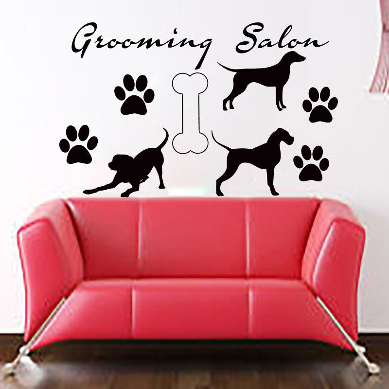 be0ec1f8855d DIY Grooming Salon Wall Murals Bone Three Dogs And Paw Print Home Decor  Wall Sticker Removable //Price: $US $9.04 & FREE Shipping // #dogtreats