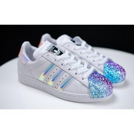 on sale a4c5e 36d33 Adidas Superstar Classic White Metallic Hologram Iridescent Black Logo