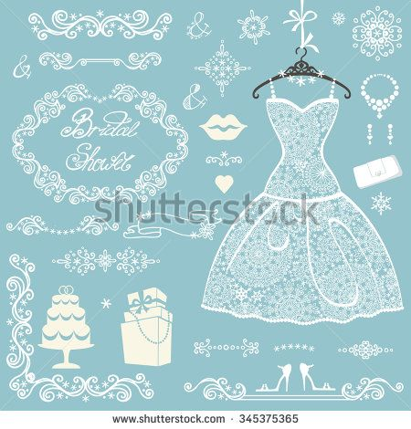 fashion new year border stock vector bridal shower decor elements set winter invitation cards template openwork