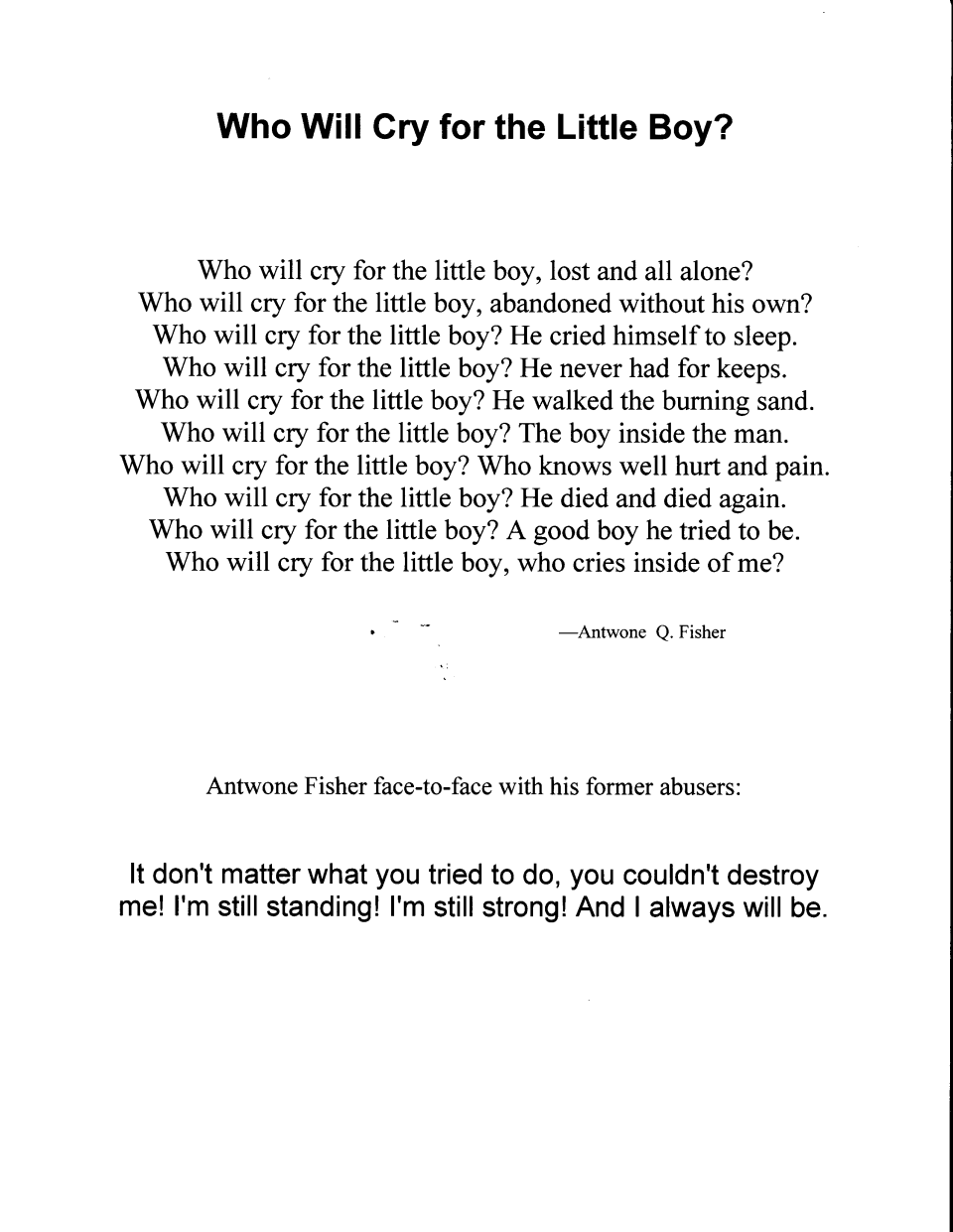 essay on antwone fisher movie Antwone fisher essaysthe movie we are going to do our report is on atwone  fisher this movie is a true story about a guy named atwone fisher in this report.