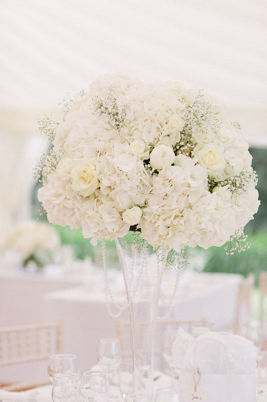 Tall Flute Vases Of Hydrangea Gypsophila And Peonies At Ardington