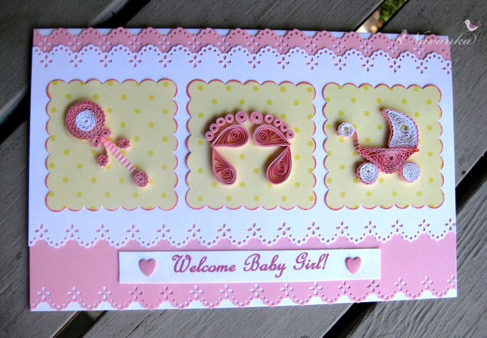 Charming Baby Girl Card Making Ideas Part - 10: Craft Ideas For All: Handmade Welcome Baby Girl Greeting Card With Paper  Quilling