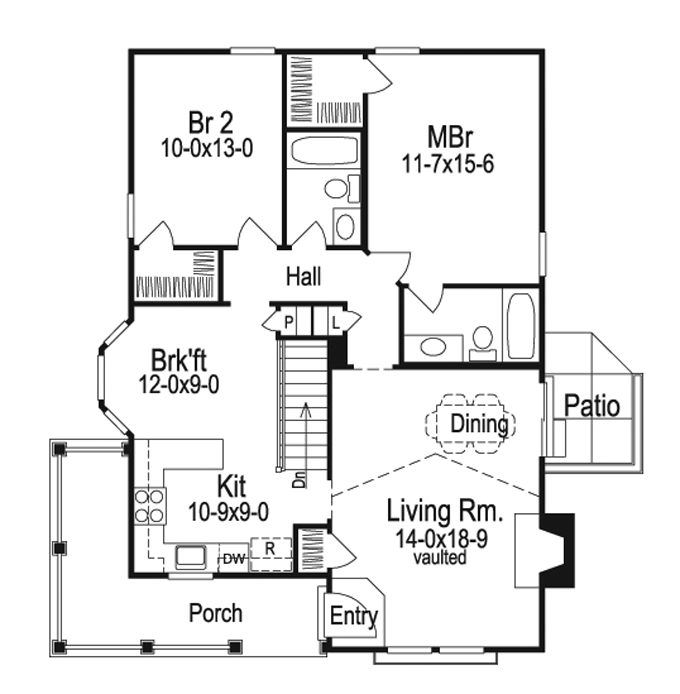 Cottage Style House Plan 2 Beds 2 Baths 1084 Sq Ft Plan 57 194 House Plans Cottage Style House Plans House Floor Plans