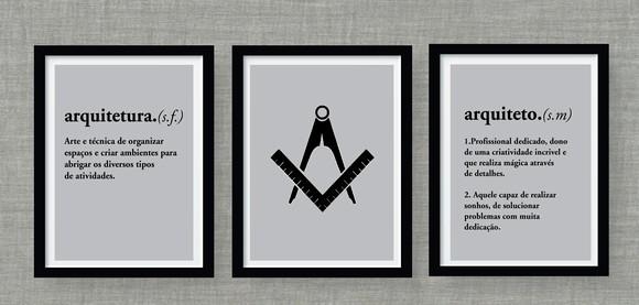 Trio de quadros - Arquiteto/Arquiteta no Elo7 | damaarteira (ED106F)