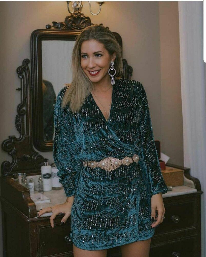 9c086ff0f63 NWT ZARA V Neck Sequined Velvet Dress Wrap Tunic SIZE L Ref.0881/315 #ZARA  #TunicDress #PartyCocktail