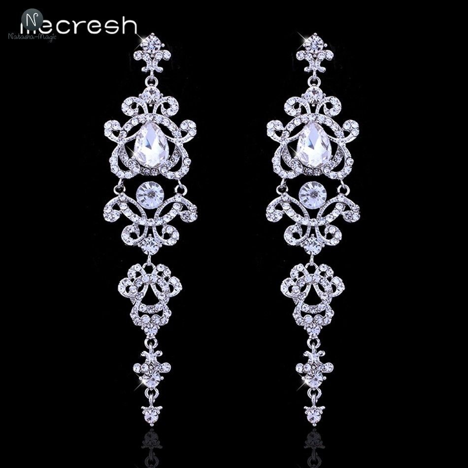 Silver Chandelier Crystal Long Earrings Wedding Bridal Hanging