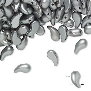 Bead, Zoliduo, Czech pressed glass, opaque white pastel grey, 8x5mm double-drilled right-facing comma with 0.8mm hole. Sold per pkg of 30.