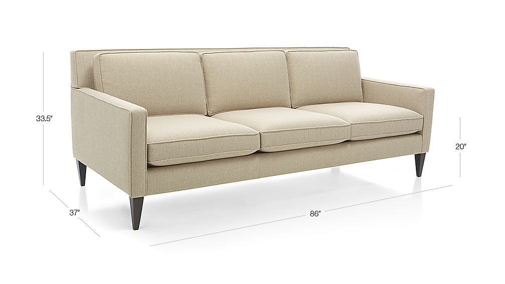 Image With Dimension For Rochelle Midcentury Modern Sofa