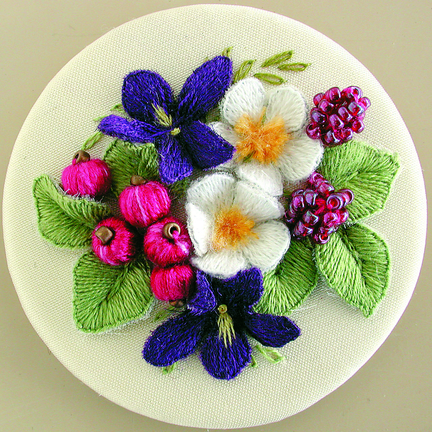 Violet Posy Hand embroidery projects, Needlepoint
