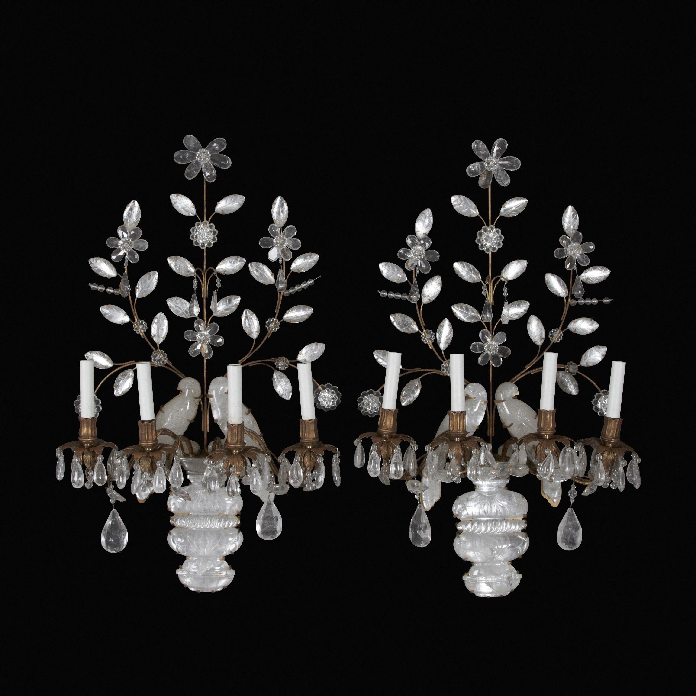 Pair of bagues type rock crystal parrot sconces from france pair of bagues type rock crystal parrot sconces arubaitofo Images