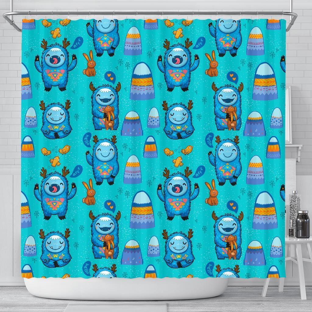 Blue Bigfoot Pattern Print Bathroom Shower Curtain Bathroom Shower Curtains Print Patterns Curtains