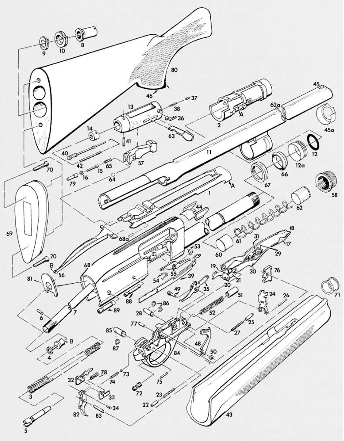 Model 1100 exploded view | Remington model 1100 | Pinterest