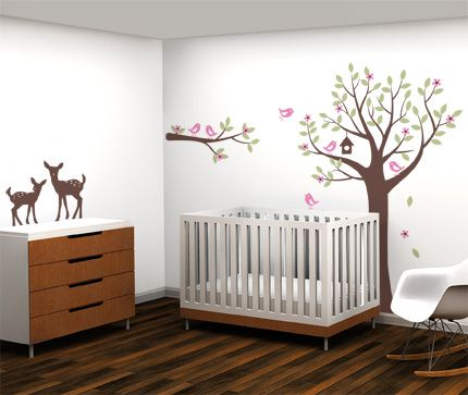 Nursery Flower Tree With Birds And Deer Wall Decal