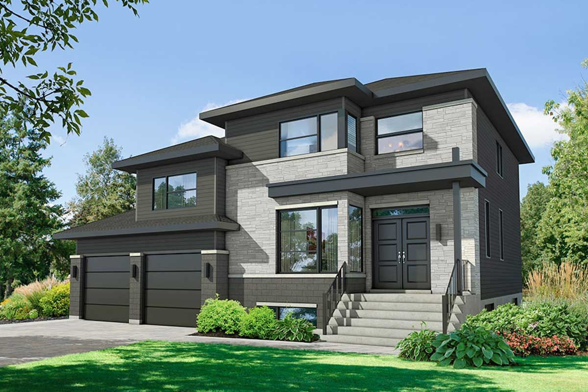 Photo of Plan 80939PM: Modern 4-Bed Multi-Level House Plan with Garage Workshop