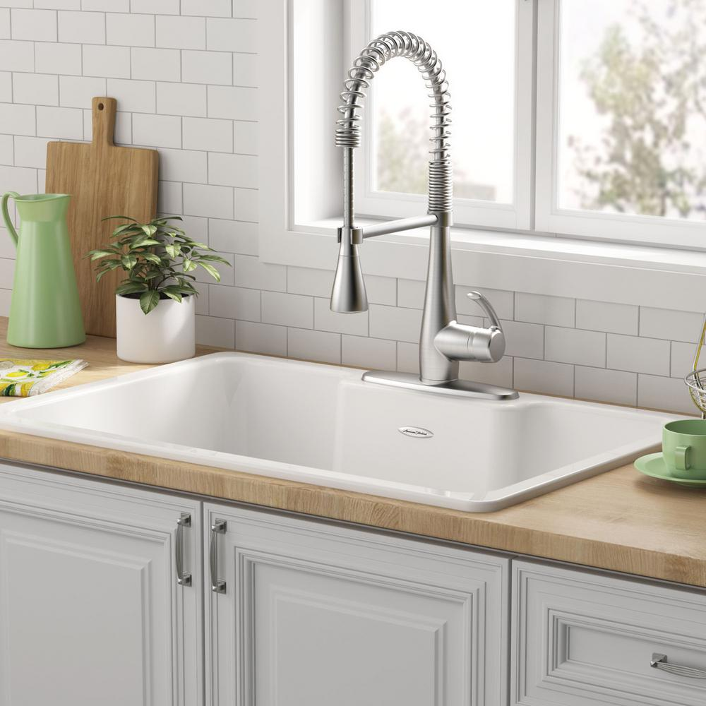 American Standard Quince Drop In Cast Iron 33 In 3 Hole Single Bowl Kitchen Sink In Brilliant White 77sb33223 308 Cast Iron Kitchen Sinks Single Bowl Kitchen Sink Sink