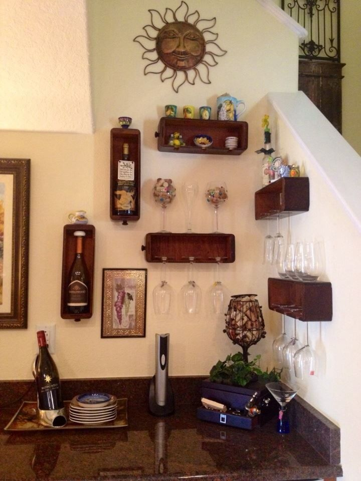Repurposed sewing machine drawers for a wine glass display for Repurposed antiques ideas