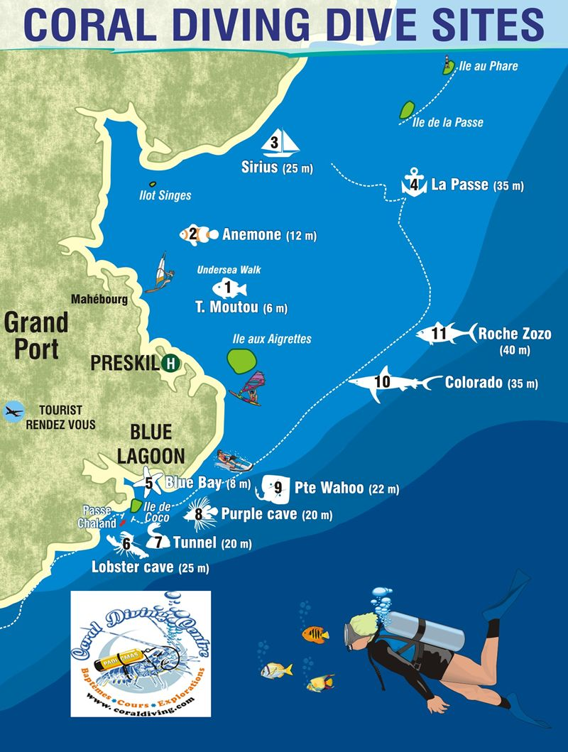 Diving Sites By Coral Diving Coraldiving Com Mauritius Diving