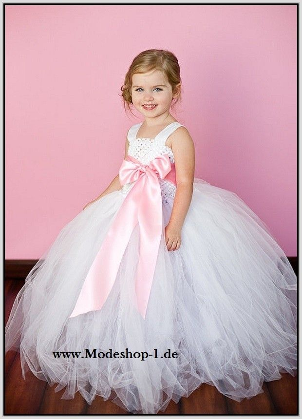 Weisses Tütü Blumenmädchenkleid mit Schärpe | Mädchen Abendkleider ...