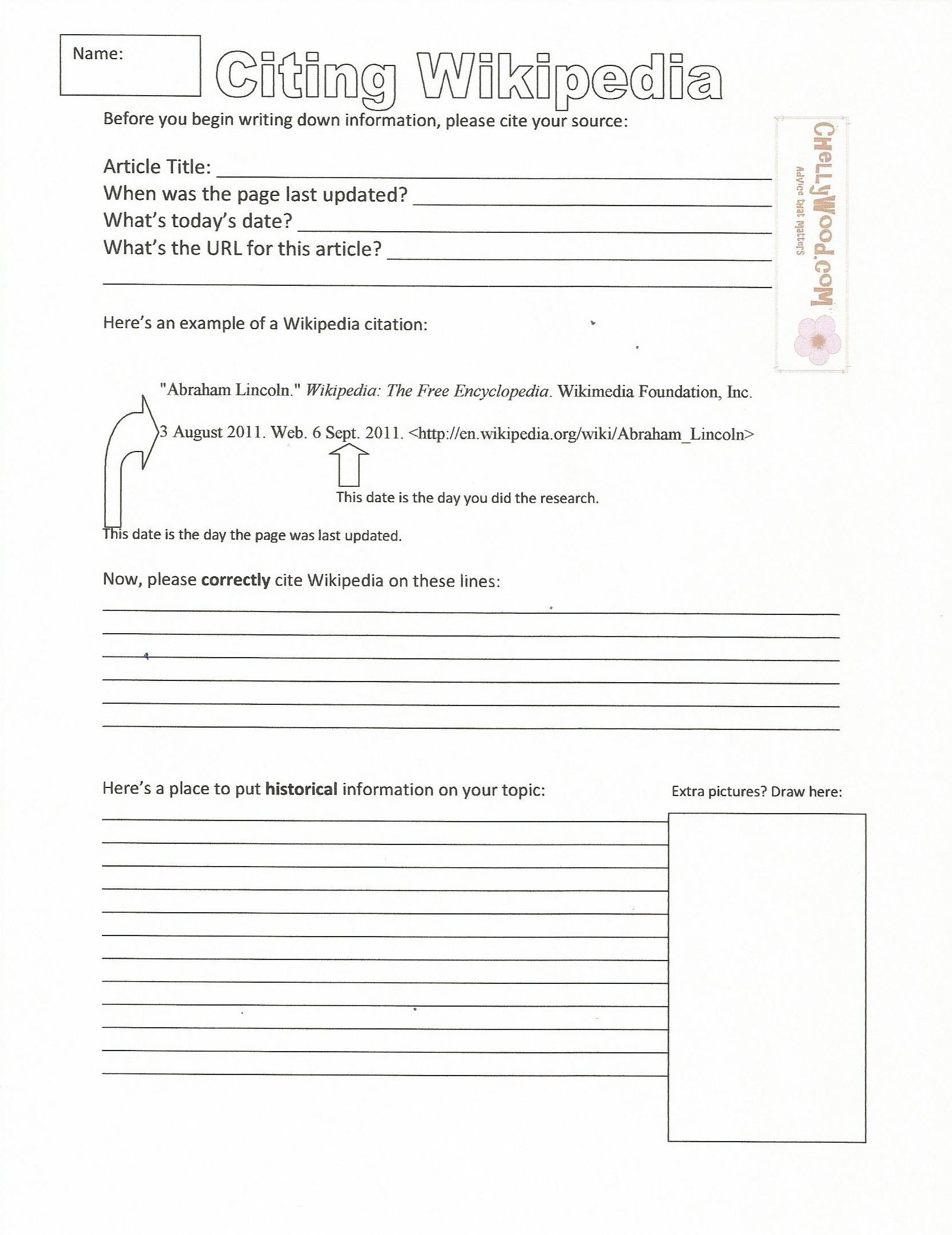 Citing Wikipedia Middle School Handout Worksheet Pg 1