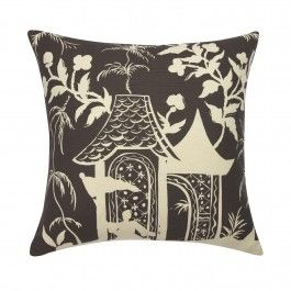 Brown chinoiserie pillow