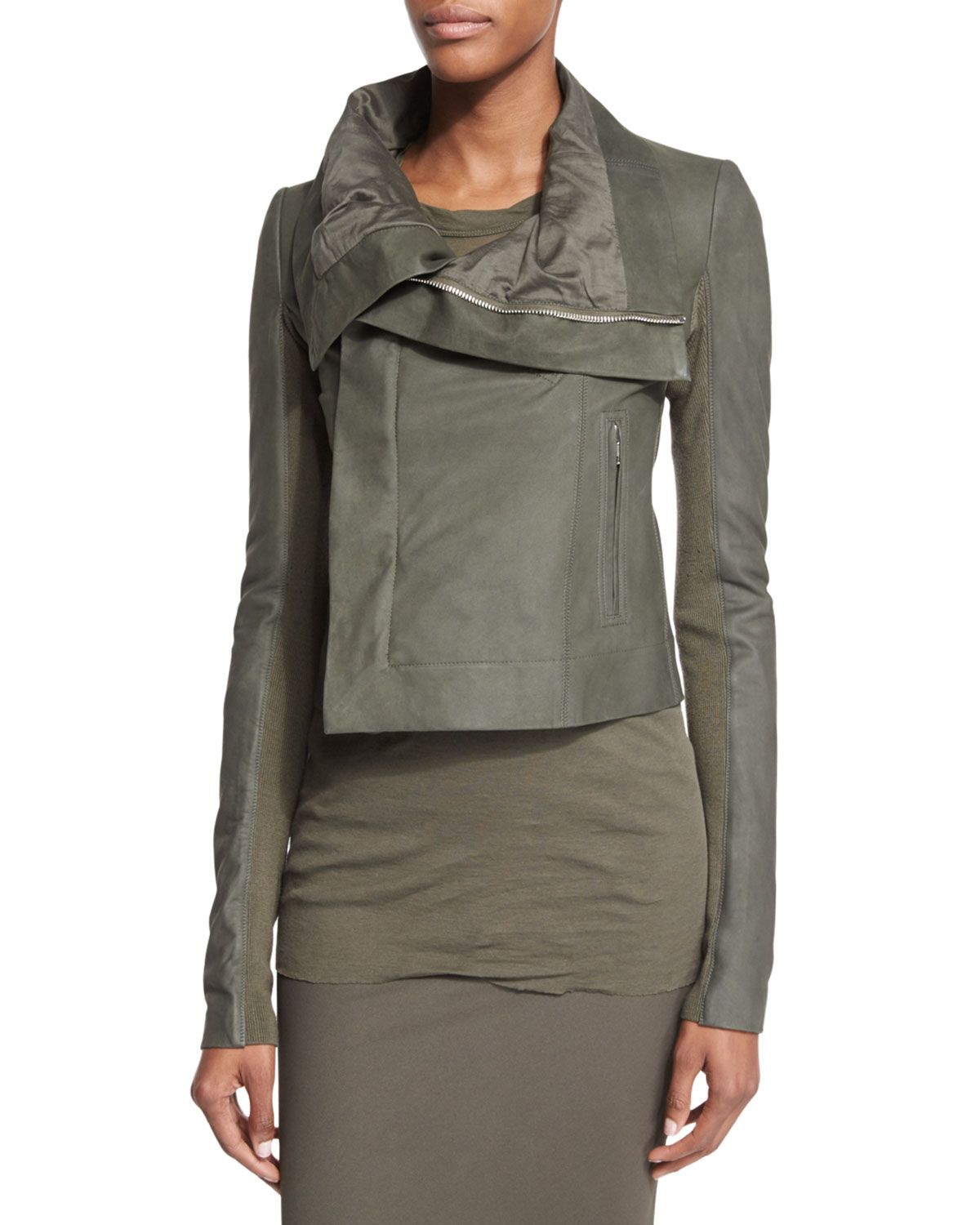 Rick Owens Classic Leather Combo Biker Jacket, Army