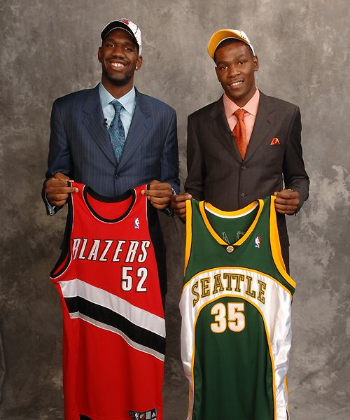 Portland Blazers Draft History: Greg Oden Portland Trail Blazers Kevin Durant Seattle