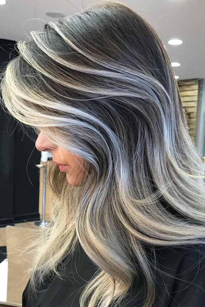 Nouvelle Tendance Coiffures Pour Femme  2017 / 2018   24 idées élégantes avec des points culminants pour les cheveux foncés  Faits saillants colorés de cheveux gris
