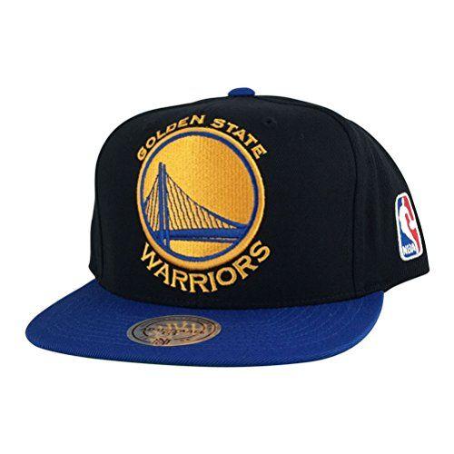 best service 8a405 e142d Mitchell and Ness Golden State Warriors Black Xl Logo Blue Visor Snapback  Hat Cap - http