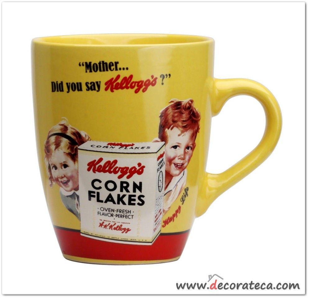 Taza de desayuno amarilla retro kellogg 39 s ni os - Decoracion de tazas ...