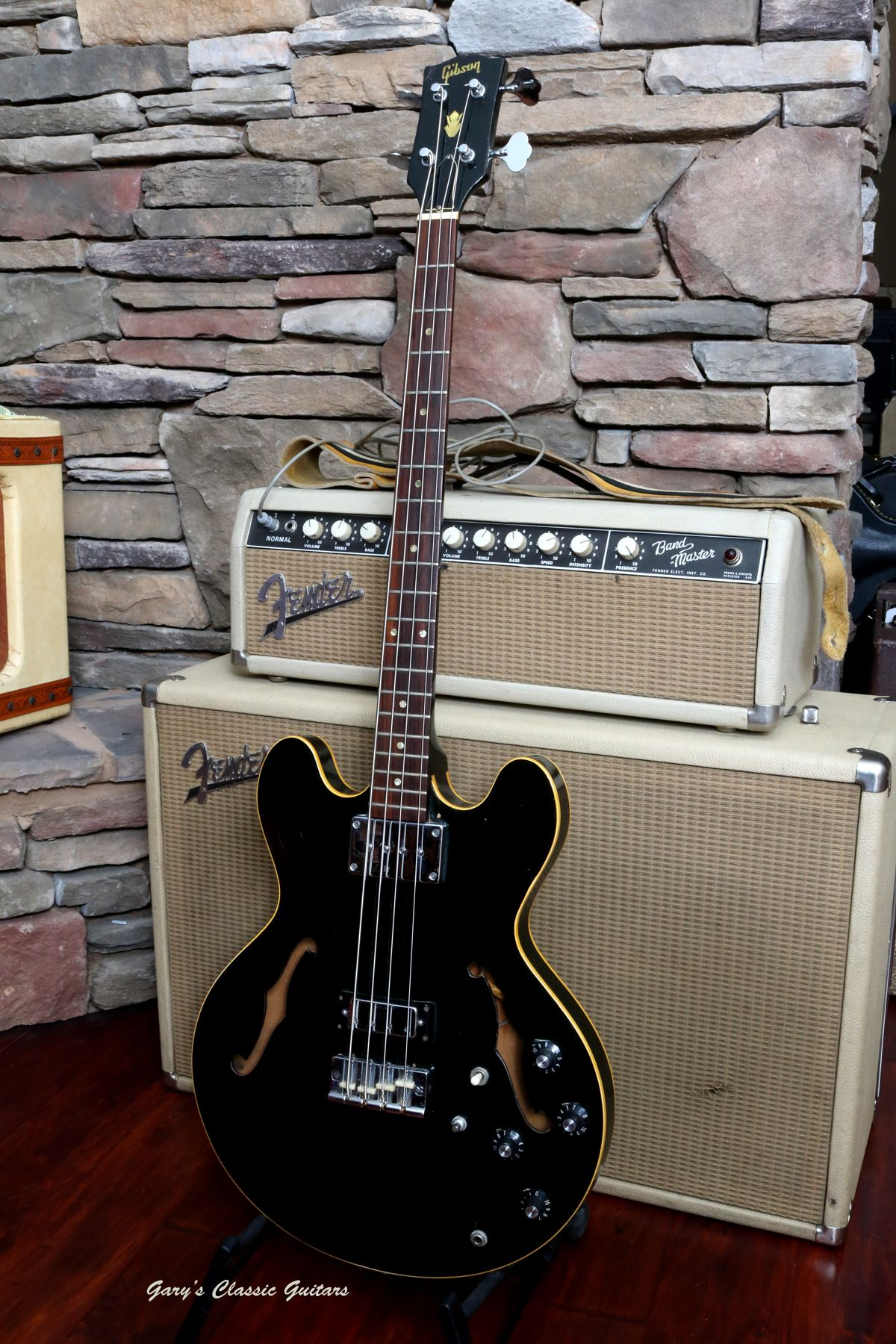 1968 gibson eb 2d in a very rare black finish a 63 fender 1968 gibson in a very rare black finish a fender bandmaster