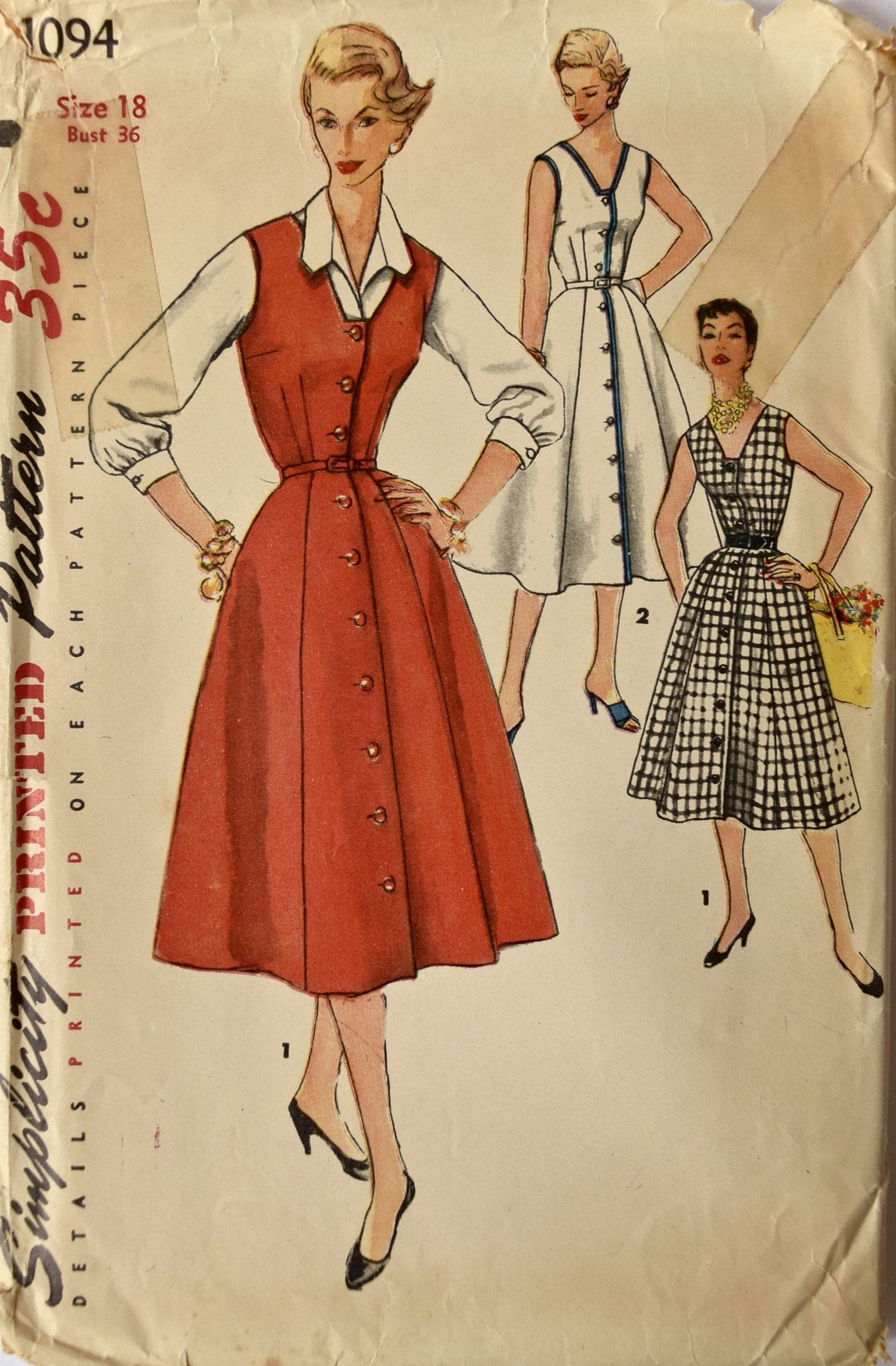 fbe6ca28ac20 Simplicity 1094 Sewing Pattern 1950s Dress Pattern V-Neck Sleeveless Button  Front 7-Gore Skirt Jumper and Blouse Bust 36