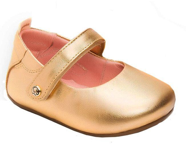 1712f73208 Sapatilha infantil gambo Napa cristal ouro lisa